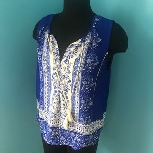 Blue and White Tassel Tank Collective Concepts